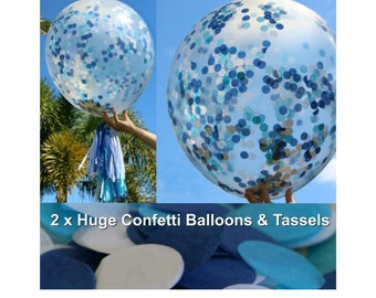 """2 x Blue Confetti Balloons with Tassels 90cm / 36"""" - Boys Baby Shower Decorations  / Boys First Birthday Party / Christening / New Baby Boy"""