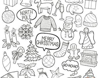 Merry Christmas Winter Holidays Concept Art Cartoon Doodle Icons Clipart Scrapbook Set