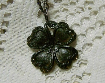 Antiqued Black CLOVER Necklace, Lucky Charm, Irish jewelry, four leaf clover, LUCKY SHAMROCK pendant, St Patrick's Day Jewelry, Good Luck