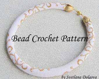 "Pattern for bead crochet necklace ""Gold monogram"",bead crochet pattern"