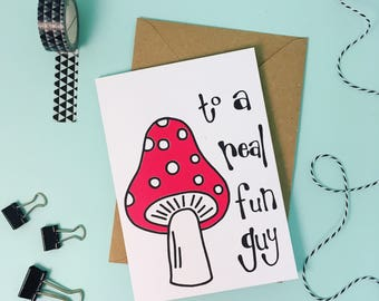 Fathers Day Card, rad dad, birthday card, screen printed greetings card, toadstool illustration, Card for Dad