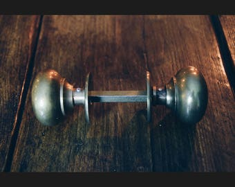 A Pair of Solid Antiqued Brass VIctorian Round Door Knobs 55mm Diameter