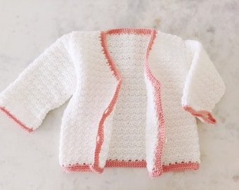 Handmade Girl's Crochet Cardigan in White with Rose Trim Size 4