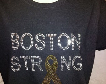 BOSTON STRONG Rhinestone Shirt with Gold rhinestone Ribbon - We will never forget.  Together we stand Strong.