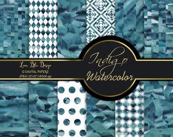 Indigo digital paper, indigo watercolor patterns, watercolor digital paper, indigo patterns, indigo watercolor backgrounds, indigo scrapbook