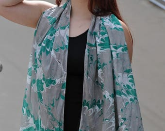 Silk Scarf Hand Painted with Pantone Colors Sharkskin and Lush Meadow Extra Large Made in Asheville NC, MM 10-91716