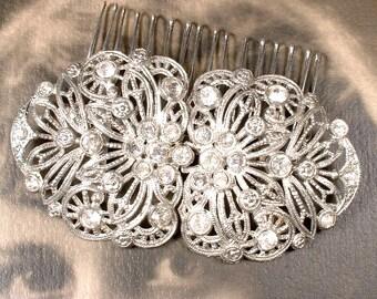 1930 Wedding Dress Sash Buckle OR Hair Comb, Nouveau 1920s Antique Bridal Headpiece, Art Deco Vintage Pave Rhinestone Head Piece Belt Buckle