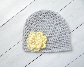 Crochet Baby Hat, Flower Baby Hat, Gray And Yellow Baby Hat, Preemie Hat, Baby Shower Gift, Baby Photo Prop, Spring Baby Hat, Baby Gift,Baby