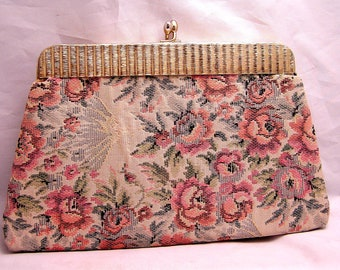 Vintage Tapestry Kiss Lock Clutch Purse with Satin Lining