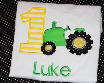1st birthday tractor birthday tshirt- boy or girl- any number- farm birthday