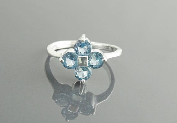 Quatrefoil Promise Ring, Sterling Silver, Blue Aquamarine Lab Simulant, Flower Square Love Ring, Modern Engagement Ring, Clover Bridal Ring