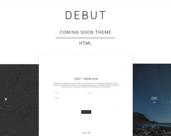 Debut - Responsive HTML Coming Soon / Under Construction Landing Page Template (Live Preview below)