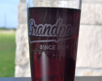 Etched  Grandpa Hiball Tumbler Single Glass Sand-Carved for Grandpa, Popa, Pawpaw, Grandad, Grandfather Gift   - by Jackglass on Etsy