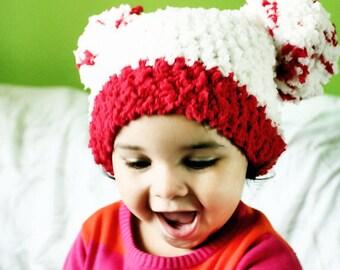12 to 24m Baby Pom Pom Hat, Toddler Pom Pom Beanie Pom Pom Toddler Hat Valentine Baby Hat, Cream Red Valentine Hat Photo Prop