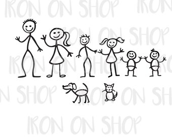 Family Stick Figure Vinyl Decals