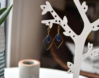 geometric brass and drop earrings enamelled blue
