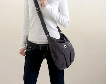 Gray Messenger bag,Small shoulder bag,Diaper bag,Women Tote bag,Cross body,Gift for her,Vegan hobo bag / Sale 25% -no.16 DENISE