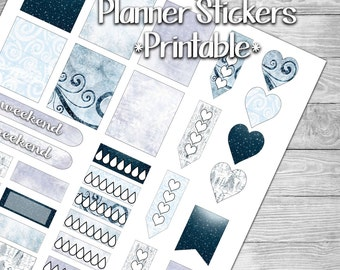 Snowy Blue Winter Stickers for Planner- Printable- Digital File