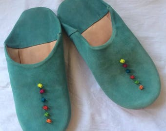 Handmade ladies Moroccan suede leather Babouche slippers with rose bud design