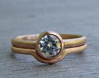 Moissanite Ring - Recycled 14k Rose Gold Engagement Ring and Wedding Band Bridal Set - Bezel Set Gem - Lab Created Diamond Alternative