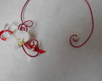 Floral red and ivory bridal necklace