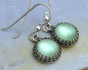 MOONLIT, sterling silver earrings, vintage jeweled earrings, green moonlight, glass moonstone earrings