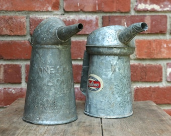 Two vintage galvanized one quart oil cans Lot of two