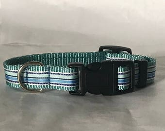 Dog Collar, Aqua stripe
