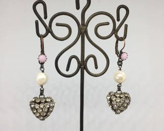 Earrings Hearts Rhinestone Pendants