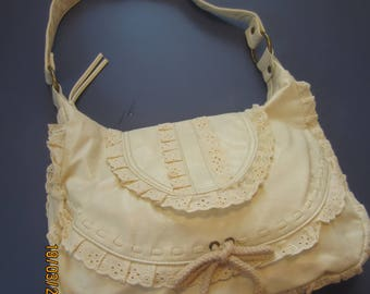 Boho Hobo Bag No Boundaries , Stone/Almond NEW Vintage 1980s, Cute, and Lacy - SALE 10% Off