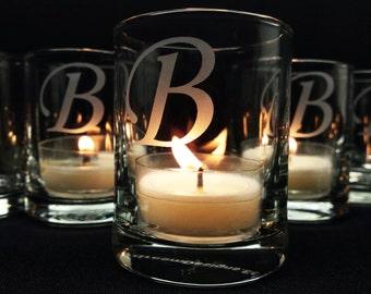 48 Personalized Candle Holders Engraved Glass Votive Holders Wedding Decor Custom Monogram Wedding Favors