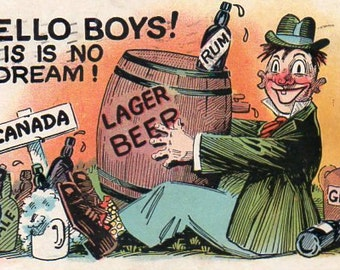 VINTAGE  POSTCARD, drinking comic, collected by junqueTrunque