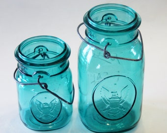 Set of 2 Ball Ideal Aqua Blue Colored Bicentennial Canning Jars (One Quart and One Pint) NO LIDS