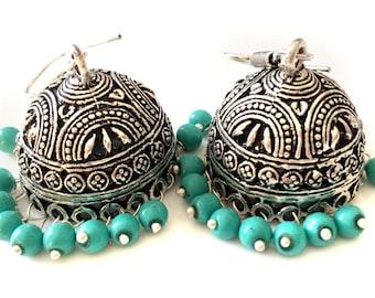 Turquoise Earrings,Indian Silver Jhumkas,Royal Jewelry,Large Jhumka Kucchi kuchi Earrings Ethnic gypsy tribal Indian Jewelry by TANEESI