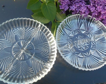 2 Vintage IAP sectioned candy dishes Small plates  Art Deco Design