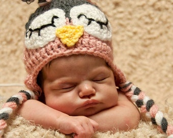 Sleepy Newborn Owl Hat in Pink and Grey/ Crochet Owl Hat/ Baby Owl Hat