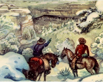 Mesa Verde National Park Colorado Cliff Palace Vintage Western Cowboy Postcard SIGNED Paul Coze (unused)