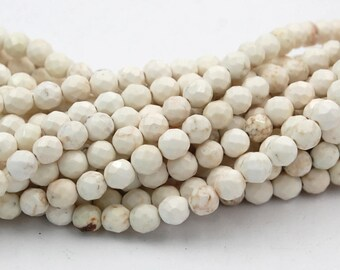 6mm Golden Matrix Creamy White Magnesite Faceted Round Beads -15.5 inch strand