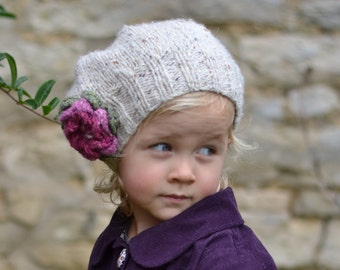 NEW In the round instructions added! KNITTING PATTERNS girls hats  'Little Petal' slouchy hat