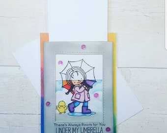 Magic slider card. Interactive card, friendship card, encouragement card, blank greeting card, birthday card, rainbow card