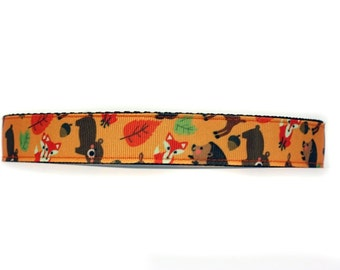 1 Inch Wide Dog Collar with Adjustable Buckle or Martingale in Woofland Friends