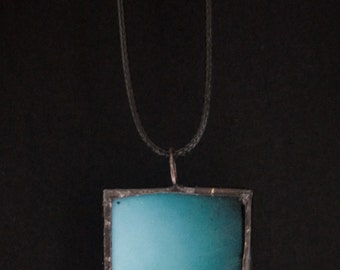 Birds On A Wire - Microscope Slide Necklace - Double Sided