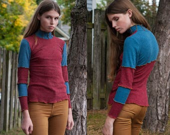 Color Block Red and Turquoise Turtleneck Sweater XS S M L XL XXL