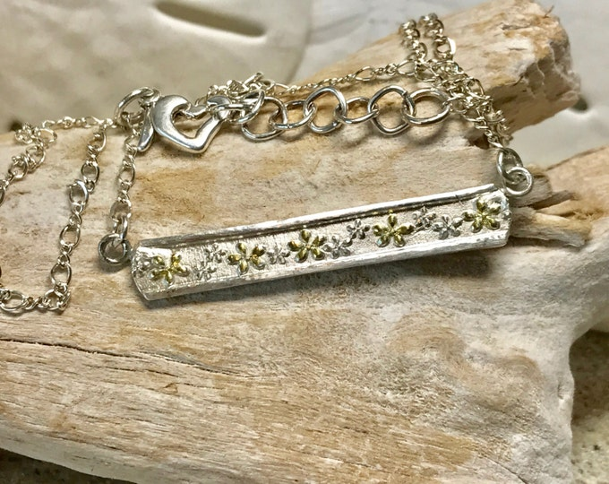 Fine Silver Bar Floral Necklace with Sterling Chain and Raised Gold Plated Flowers
