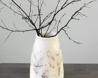 Off White Vase, Horse Hair Raku Pottery, Black White Decor, Marble Look Vase, Rustic Modern Home Decor Gift, Wedding New Home Shower Gift