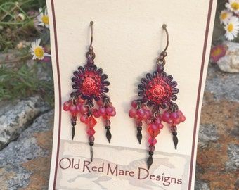 Long Dangle Earrings,Bohemian Jewelry, Chandelier Earrings,Handmade Jewelry,Gypsy Cowgirls ,Unique Hand Painted,Crystals & Vintage Glass