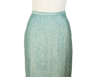 1950s Pencil Skirt // Turquoise and Gold Lurex Bombshell Pencil Skirt
