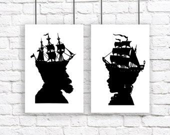 Captain Extra Large Nautical Silhouette Print Set Pirate Ship Black and White Beach House Decor