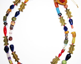 African trade bead Boho necklace with Antler pendant