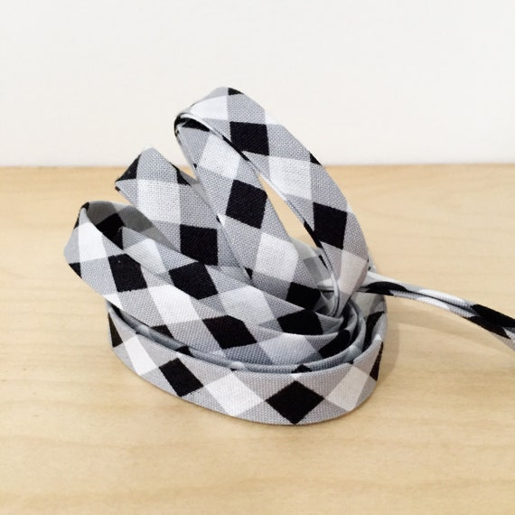 "Gingham Bias tape- 1/2"" double-fold binding in black and white buffalo plaid check cotton- 3 yards"